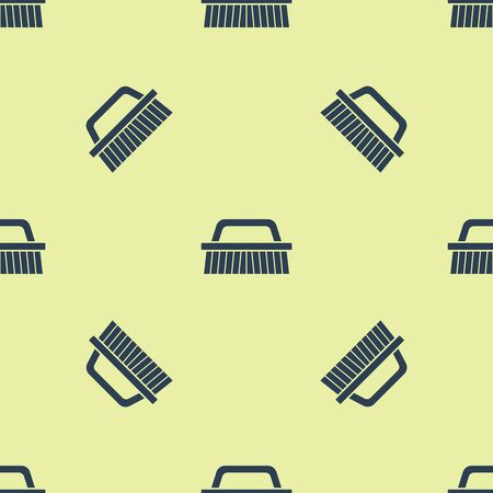 Blue Brush for cleaning icon isolated seamless pattern on yellow background. Vector Illustration Ilustrace