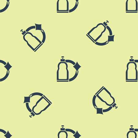 Blue Plastic bottle for liquid laundry detergent, bleach, dishwashing liquid or another cleaning agent icon isolated seamless pattern on yellow background. Vector Illustration