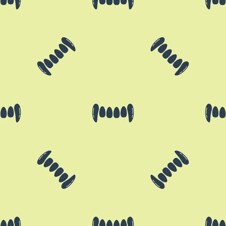 Blue Vampire teeth icon isolated seamless pattern on yellow background. Happy Halloween party. Vector Illustration