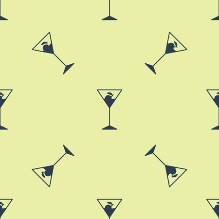 Blue Martini glass icon isolated seamless pattern on yellow background. Cocktail icon. Wine glass icon. Vector Illustration