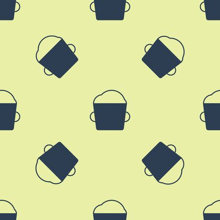 Blue Bakery bowl dough icon isolated seamless pattern on yellow background. Vector Illustration