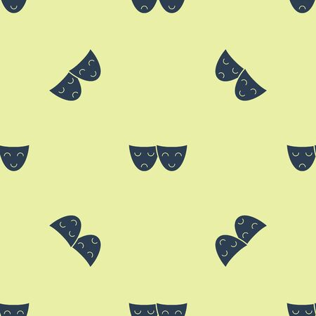 Blue Comedy and tragedy theatrical masks icon isolated seamless pattern on yellow background. Vector Illustration