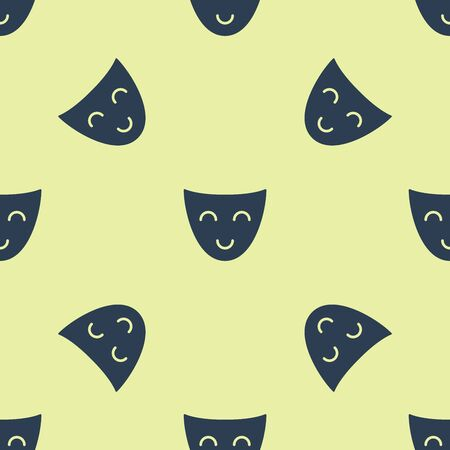 Blue Comedy theatrical mask icon isolated seamless pattern on yellow background. Vector Illustration 일러스트