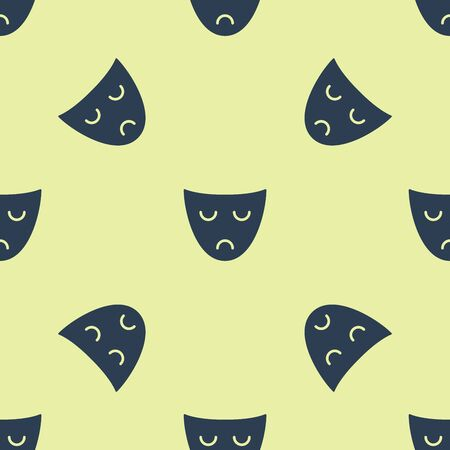 Blue Drama theatrical mask icon isolated seamless pattern on yellow background. Vector Illustration