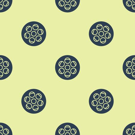 Blue Film reel icon isolated seamless pattern on yellow background. Vector Illustration