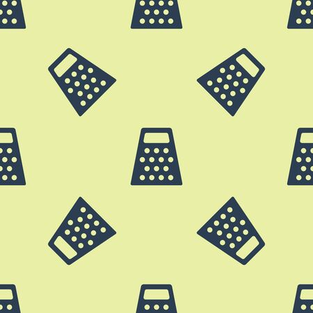 Blue Grater icon isolated seamless pattern on yellow background. Kitchen symbol. Cooking utensil. Cutlery sign. Vector Illustration