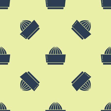 Blue Citrus fruit juicer icon isolated seamless pattern on yellow background. Vector Illustration Vector Illustratie