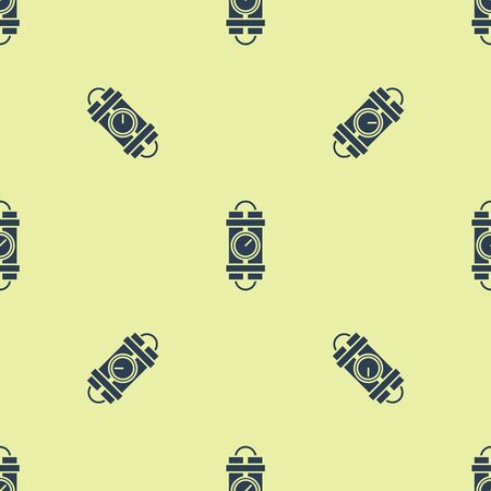Blue Detonate dynamite bomb stick and timer clock icon isolated seamless pattern on yellow background. Time bomb - explosion danger concept. Vector Illustration Illustration