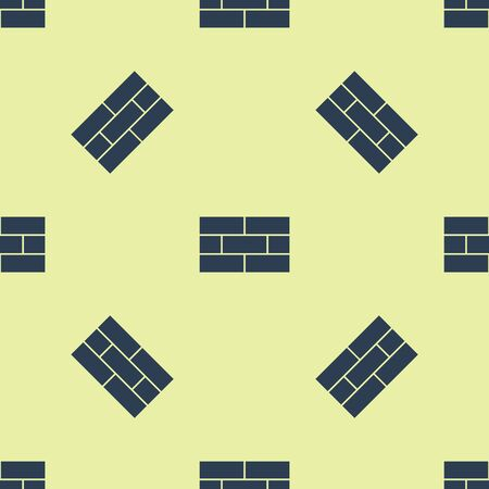 Blue Bricks icon isolated seamless pattern on yellow background. Vector Illustration