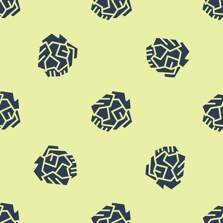 Blue Crumpled paper ball icon isolated seamless pattern on yellow background. Vector Illustration