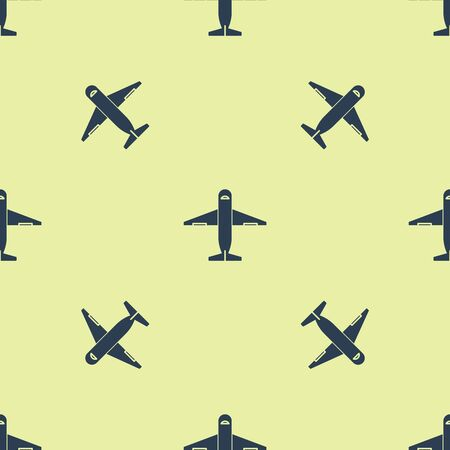 Blue Plane icon isolated seamless pattern on yellow background. Delivery, transportation. Cargo delivery by air. Airplane with parcels, boxes. Vector Illustration