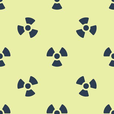 Blue Radioactive icon isolated seamless pattern on yellow background. Radioactive toxic symbol. Radiation Hazard sign. Vector Illustration
