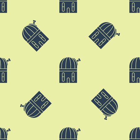 Blue Astronomical observatory icon isolated seamless pattern on yellow background. Vector Illustration Stock Illustratie