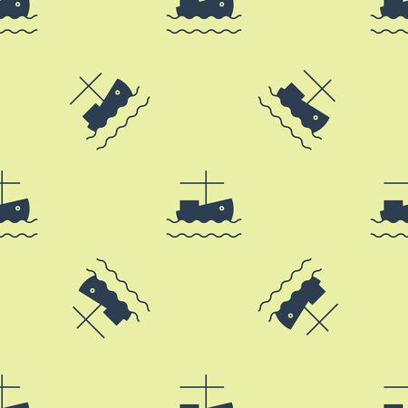 Blue Fishing boat on water icon isolated seamless pattern on yellow background. Vector Illustration Ilustração