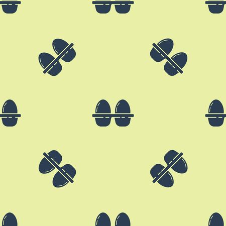 Blue Chicken egg in box icon isolated seamless pattern on yellow background. Vector Illustration Иллюстрация