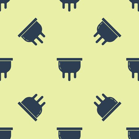 Blue Udder icon isolated seamless pattern on yellow background. Vector Illustration