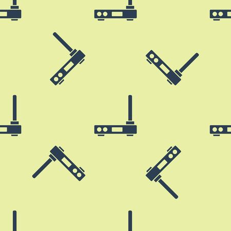 Blue Router and wifi signal symbol icon isolated seamless pattern on yellow background. Wireless modem router. Computer technology internet. Vector Illustration