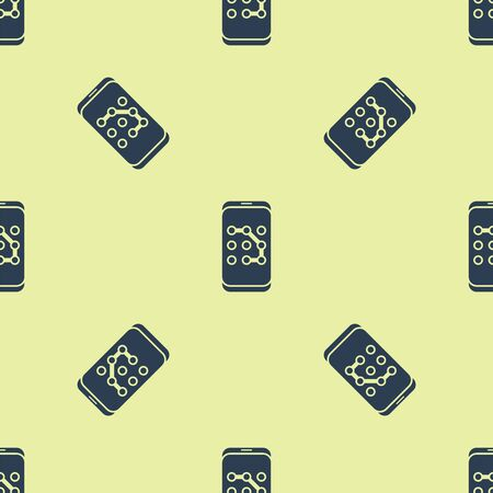Blue Mobile phone and graphic password protection icon isolated seamless pattern on yellow background. Security, safety, personal access, user authorization. Vector Illustration