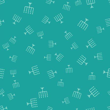 Green Hanukkah menorah icon isolated seamless pattern on green background. Hanukkah traditional symbol. Holiday religion, jewish festival of Lights. Vector Illustration Ilustracja