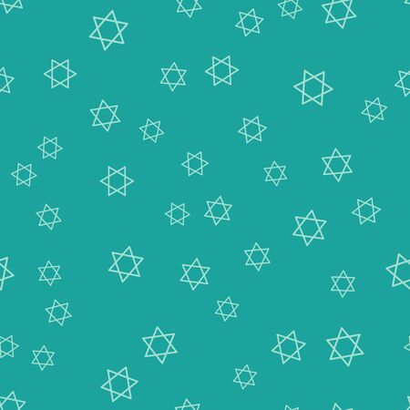 Green Star of David icon isolated seamless pattern on green background. Jewish religion symbol. Symbol of Israel. Vector Illustration