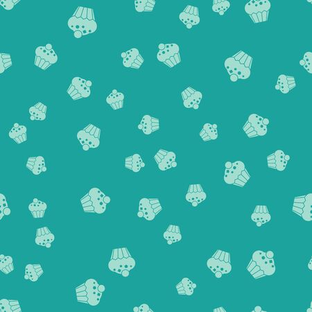 Green Muffin icon isolated seamless pattern on green background. Vector Illustration Archivio Fotografico - 133313121