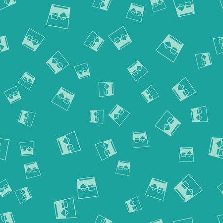 Green Glass of whiskey and ice cubes icon isolated seamless pattern on green background. Vector Illustration