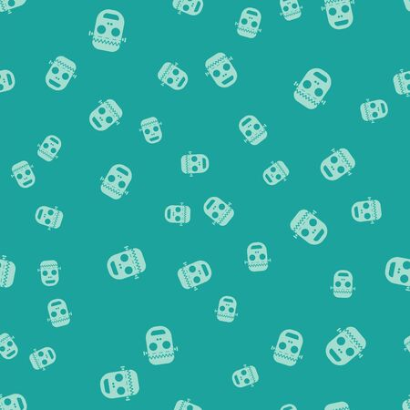 Green Zombie mask icon isolated seamless pattern on green background. Happy Halloween party. Vector Illustration