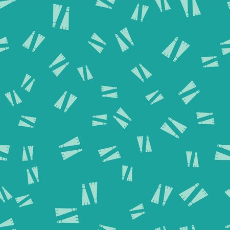 Green Rubber flippers for swimming icon isolated seamless pattern on green background. Diving equipment. Extreme sport. Diving underwater equipment. Vector Illustration