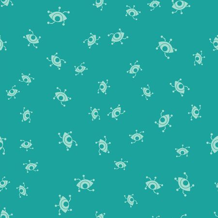 Green Virtual reality icon isolated seamless pattern on green background. Vector Illustration