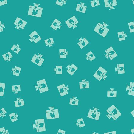 Green Computer monitor with smart home icon isolated seamless pattern on green background. Remote control. Vector Illustration