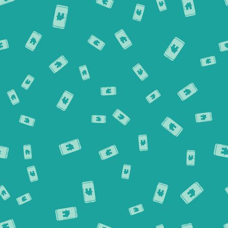 Green Mobile phone with smart home icon isolated seamless pattern on green background. Remote control. Vector Illustration