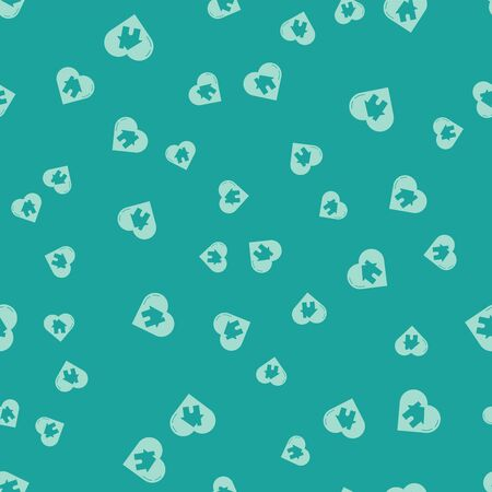 Green House with heart shape icon isolated seamless pattern on green background. Love home symbol. Family, real estate and realty. Vector Illustration