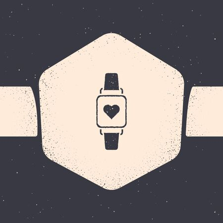 Grunge Smart watch showing heart beat rate icon isolated on grey background. Fitness App concept. Monochrome vintage drawing. Vector Illustration  イラスト・ベクター素材