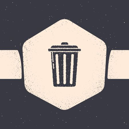 Grunge Trash can icon isolated on grey background. Garbage bin sign. Recycle basket icon. Office trash icon. Monochrome vintage drawing. Vector Illustration