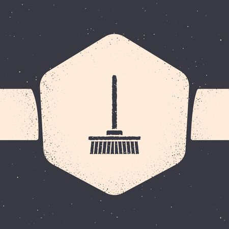 Grunge Mop icon isolated on grey background. Cleaning service concept. Monochrome vintage drawing. Vector Illustration