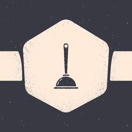 Grunge Rubber plunger with wooden handle for pipe cleaning icon isolated on grey background. Toilet plunger. Monochrome vintage drawing. Vector Illustration