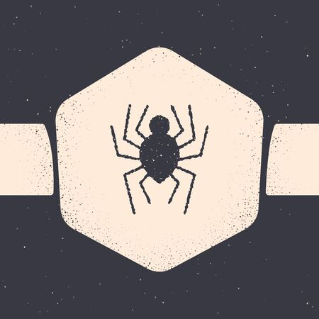 Grunge Spider icon isolated on grey background. Happy Halloween party. Monochrome vintage drawing. Vector Illustration