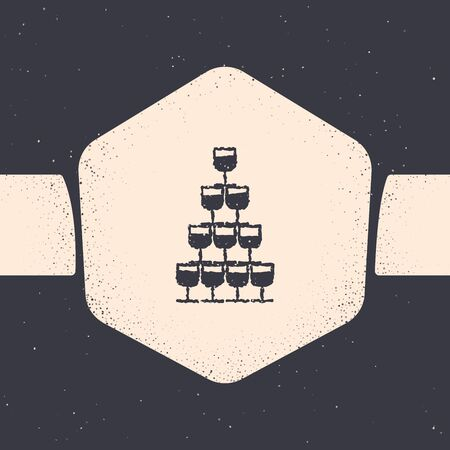 Grunge Wine glasses stacked in a pyramid tower icon isolated on grey background. Wineglass sign. Monochrome vintage drawing. Vector Illustration Ilustracja