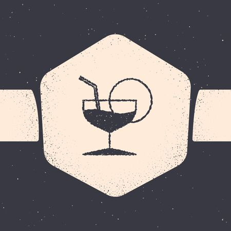Grunge Martini glass icon isolated on grey background. Cocktail icon. Wine glass icon. Monochrome vintage drawing. Vector Illustration 向量圖像