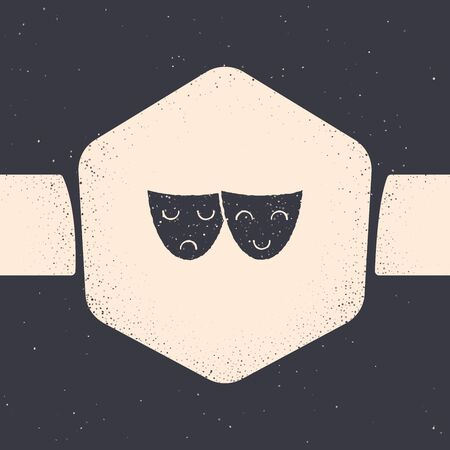 Grunge Comedy and tragedy theatrical masks icon isolated on grey background. Monochrome vintage drawing. Vector Illustration 일러스트