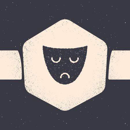 Grunge Drama theatrical mask icon isolated on grey background. Monochrome vintage drawing. Vector Illustration 일러스트