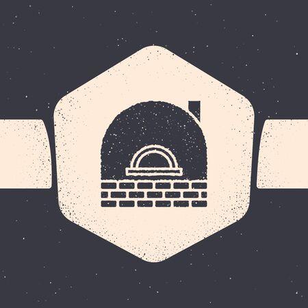 Grunge Brick stove icon isolated on grey background. Brick fireplace, masonry stove, stone oven icon.Monochrome vintage drawing. Vector Illustration
