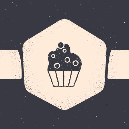 Grunge Cupcake icon isolated on grey background. Monochrome vintage drawing. Vector Illustration