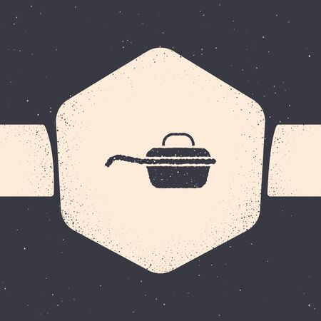 Grunge Frying pan icon isolated on grey background. Fry or roast food symbol. Monochrome vintage drawing. Vector Illustration Stock fotó - 132560984
