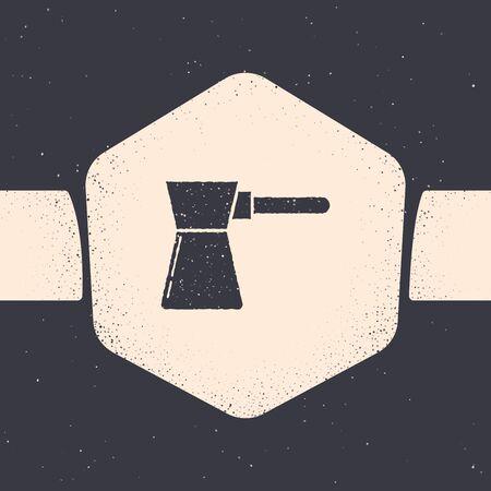 グランジコーヒータークアイコンは、灰色の背景に分離されています。モノクロヴィンテージドローイング。ベクトルイラストレーション