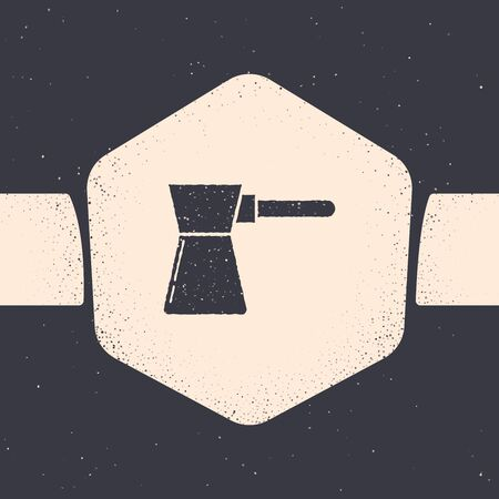 Grunge Coffee turk icon isolated on grey background. Monochrome vintage drawing. Vector Illustration