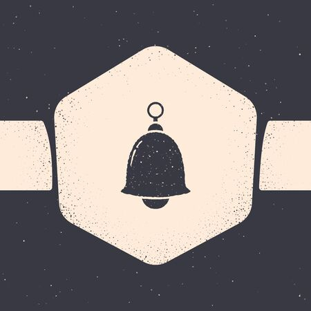 Grunge Ringing bell icon isolated on grey background. Alarm symbol, service bell, handbell sign, notification symbol. Monochrome vintage drawing. Vector Illustration