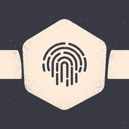 Grunge Fingerprint icon isolated on grey background. ID app icon. Identification sign. Touch id. Monochrome vintage drawing. Vector Illustration