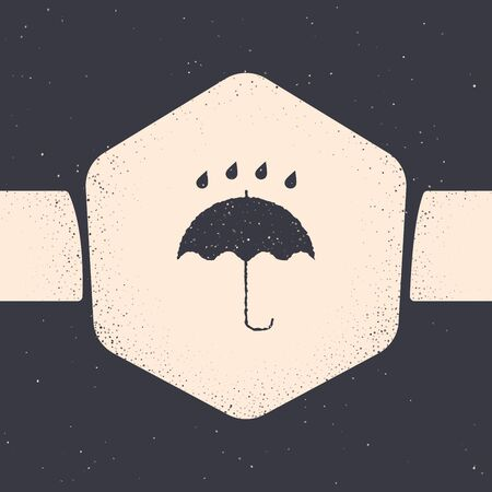 Grunge Umbrella and rain drops icon isolated on grey background. Waterproof icon. Protection, safety, security concept. Water resistant symbol. Monochrome vintage drawing. Vector Illustration