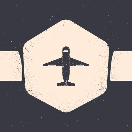 Grunge Plane icon isolated on grey background. Delivery, transportation. Cargo delivery by air. Airplane with parcels, boxes. Monochrome vintage drawing. Vector Illustration